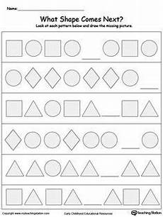 shapes pattern worksheets kindergarten 1167 complete the shape pattern your child will learn to recognize and complete patterns by