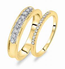 3 8 ct t w diamond his and hers wedding rings 14k yellow gold my trio rings wb106y14k