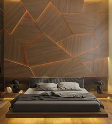 this bedroom has a geometric back lit wood accent wall contemporist