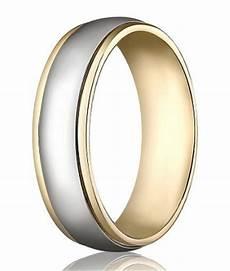 14k yellow white gold wedding band 6 mm designer two toned polished finish