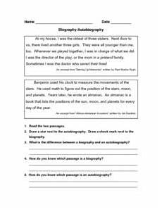 biography autobiography worksheet for 3rd 7th grade lesson planet