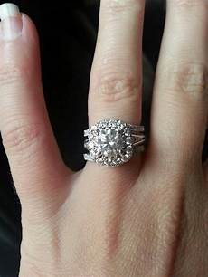 engagement ring with double wedding band
