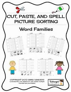 worksheets on greetings 18411 cut and paste spell phonics picture sorting worksheet word families free