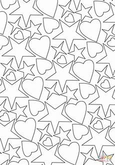 Ausmalbilder Sterne Und Herzen Hearts And Pattern Coloring Page Free Printable