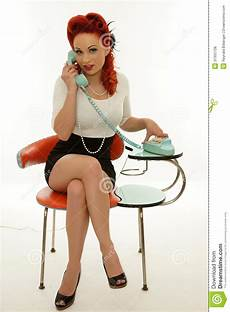 image de pin up pinup holding a vintage telephone stock photo