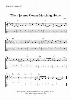 ukulele sheet music free easy ukulele tab sheet when johnny comes marching home