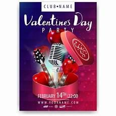 gitarren und len verschwommene valentinstag flyer poster vorlage kostenlose vektor