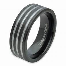 tungsten carbide mens comfort fit wedding band ring black ip grooved silver 8mm ebay