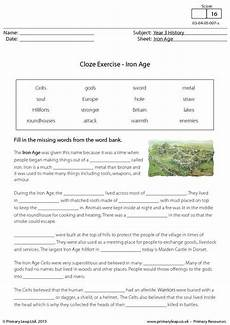 year 3 literacy worksheets primary resources primaryleap co uk cloze exercise the iron age