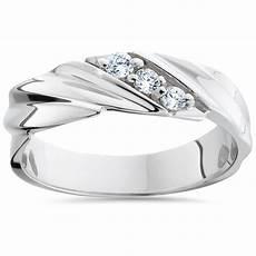 mens diamond wedding ring 3 stone 14k white gold high polished band ebay