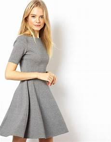 asos structured skater dress in rib in gray lyst