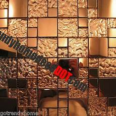 Glass Mosaic Kitchen Backsplash Sle Copper Metal Pattern Textured Glass Mosaic Tile
