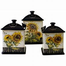 sunflower canisters for kitchen canister set sunflowers 3 ceramic storage