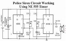 police siren circuit working using ne555 timer and application