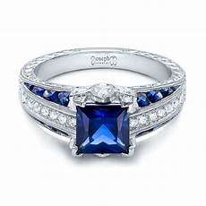 custom blue sapphire and diamond engagement ring 102163