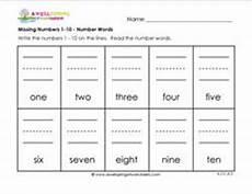 missing numbers 1 10 number words kindergarten number writing