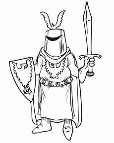 coloring page with helmet shield and sword