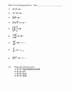 math 7 8 law of exponents review worksheet for 9th 12th grade lesson planet