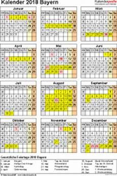 Kalender 2018 Bayern Ferien Feiertage Pdf Vorlagen