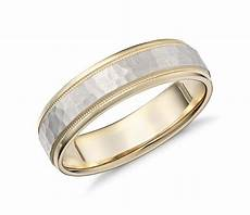 hammered milgrain comfort fit wedding ring in 14k yellow and white gold 6mm blue nile