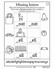 free missing letter worksheets for kindergarten 23486 kindergarten preschool reading writing worksheets missing letters oat ell and all