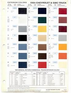 1984 gmc truck paint codes