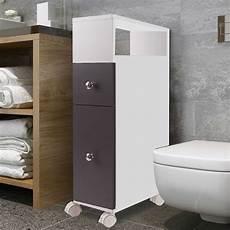 meuble rangement wc sur roulettes 2 tiroirs gris meubles
