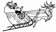 printable coloring page santa with sleigh and