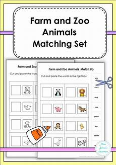 farm and zoo animals matching kindergarten learning