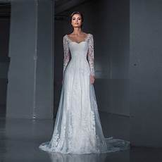 new design mermaid inside wedding dress 2017 lace bride dress long sleeves lace sweep train