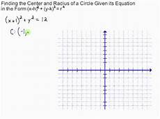 finding center and radius of a circle given its equation in standard form youtube