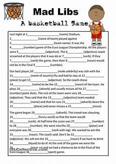 mad libs basketball game parts of speech worksheets mad libs basketball games for kids