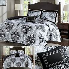 bed comforter bedding soft black white modern damask pattern queen size 4pcs ebay