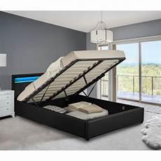 cadre de lit avec coffre lit coffre led avec sommier 224 lattes 160 x 200 cm en
