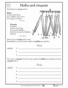 writing poetry worksheets middle school 25325 poems haiku and cinquain students learn about two types of poems and need specific numbers of