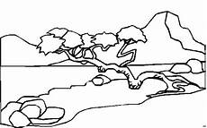 baum ueber fluss ausmalbild malvorlage landschaften
