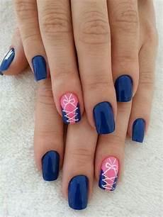 royal blue pink white corset nail design blue