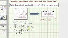 ex write a given quadratic function in vertex form a not 1 with fractions youtube