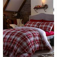 catherine lansfield tartan red check brushed cotton bedding collection