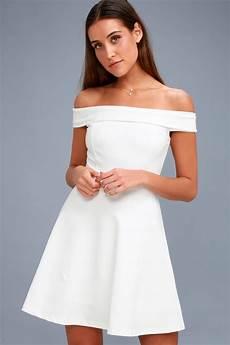 white dress shoulder dress lwd skater dress