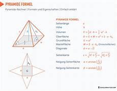 pyramide berechnen volumen oberfl 228 che mantelfl 228 che