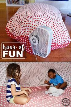 she takes a sheet and a fan and entertains her kids for hours