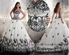 White Wedding Dress With Black Lace aliexpress buy embellished white and black wedding