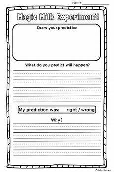 printable science experiments worksheets 12678 magic milk experiment worksheet by miss barnes s store tpt