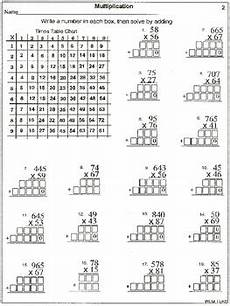 multiplication 2 and 3 digit by 2 digit with times chart 20 worksheets