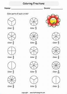 fraction worksheets for primary 3 3827 color fractions in basic shapes introduction to understanding fractions math worksheet for grade