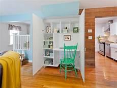 custom cabinet with hidden desk and storage hgtv