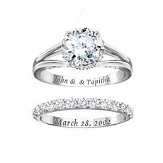 diamonesk bridal ring with engraved names and date wedding engagement rings bridal ring
