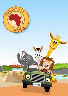 afrikanische tiere im auto vektor abbildung illustration