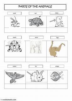 animals and their worksheets 14100 parts of the animals interactive worksheet